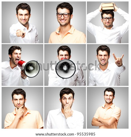 composition of a handsome young man over grey background - stock photo