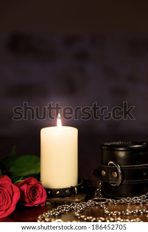 composition of a lot sex toys, romantic and bdsm - stock photo
