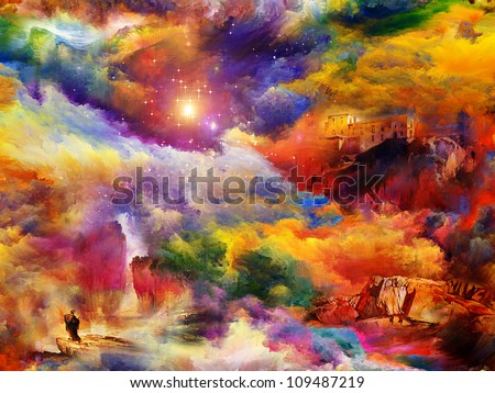 Composition of abstract paint and landscape elements on the subject of dream, imagination and fantasy - stock photo
