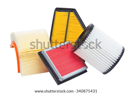 composition of air filters for car engine on a white background - stock photo