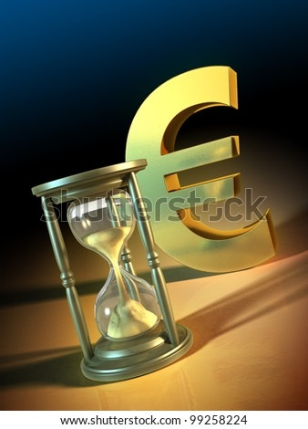 Composition of an hourglass and a big golden euro symbol. Digital illustration.