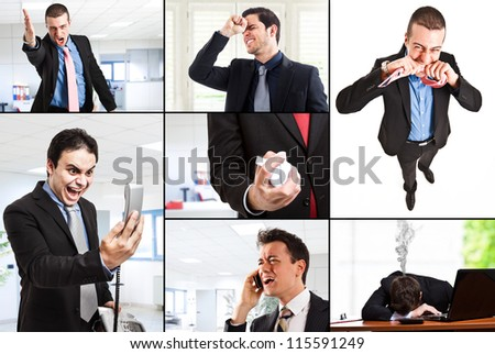 Composition of angry business people - stock photo
