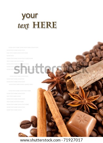 Composition of anise, cinnamon, choco, coffee and free space for text - stock photo