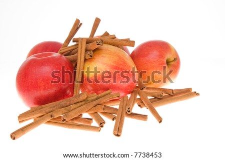 composition of apples and cinnamon isolated on white