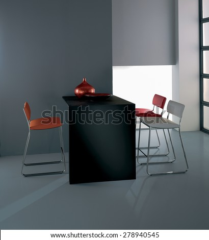composition of bar stools, composition of bar stools around a black wooden table, stools leather and steel modern design with metallic trim to the edges, artificial light, - stock photo