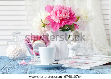 Composition Beautiful Peonies Vase Tea Cup Stock Photo Royalty Free