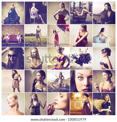 Composition of beautiful women - stock photo