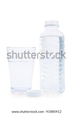 composition of bottle and glass  with water - stock photo