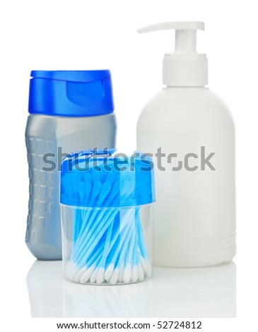 composition of bottles for care - stock photo