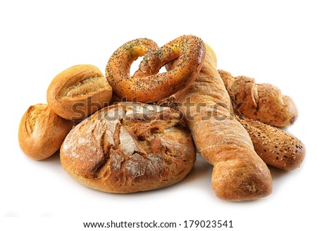 composition of bread on a white background