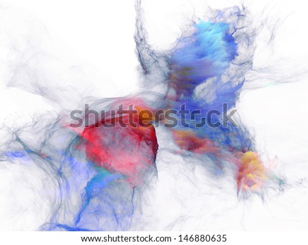 Composition of bursting strands of fractal smoke and paint with metaphorical relationship to design, science, technology and creativity - stock photo