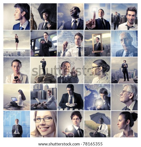 Composition of business people - stock photo