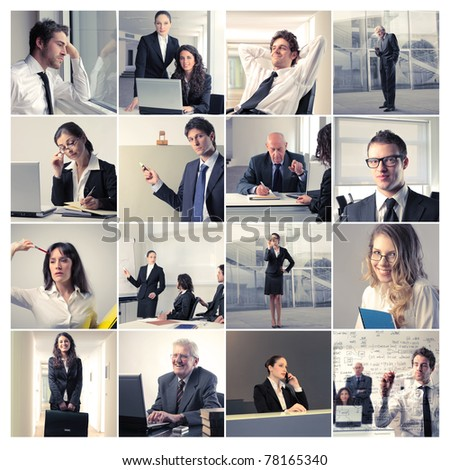 Composition of business people at work - stock photo