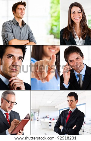 Composition of businessman and businesswomen portraits - stock photo