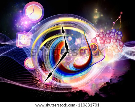 Composition of clock elements and turbulence lines on the subject of time, schedule, deadlines and time critical processes - stock photo