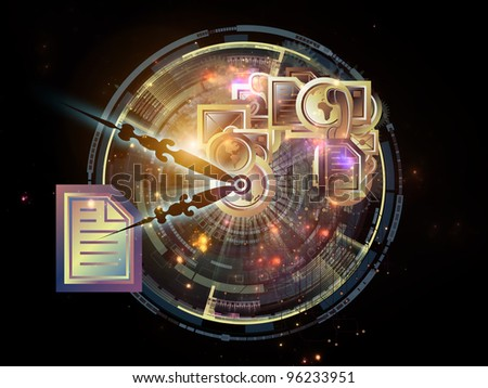 Composition of clock hands, communication symbols and technological elements  as a concept metaphor for time sensitive communication processes - stock photo