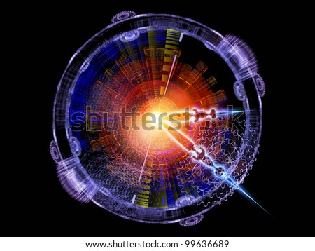 Composition of clock hands, gears, lights and abstract design elements suitable as a backdrop for the projects on time sensitive issues, deadlines, scheduling, past, present and future - stock photo