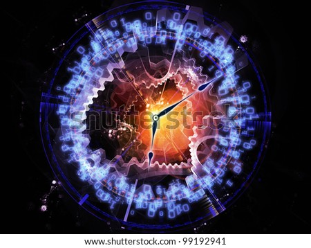Composition of clock hands, gears, lights and numbers with metaphorical relationship to time sensitive issues, deadlines, scheduling, digital technologies, past, present and future - stock photo