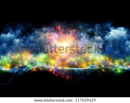 Composition of clouds of fractal foam and abstract lights with metaphorical relationship to art, spirituality, painting, music , visual effects and creative technologies - stock photo
