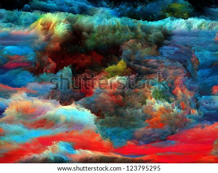 Composition of colorful fractal paint on the subject of art, abstraction and creativity - stock photo