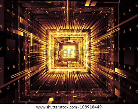 Composition of computer chip, numeric and abstract elements suitable as a backdrop for the projects on computers,  math and information technology - stock photo
