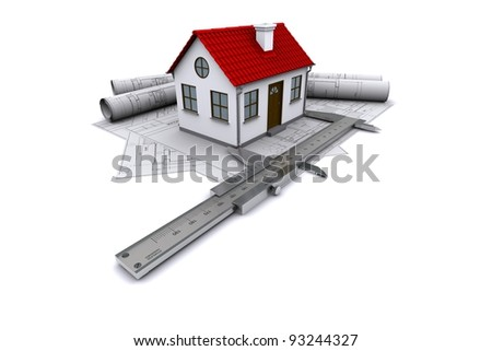 Composition of construction drawings, models at home with red roof and calipers. 3D rendering - stock photo