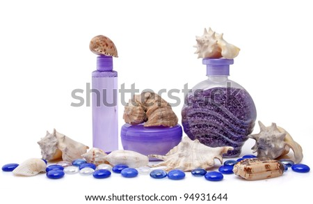 Composition of cosmetic products on white background - stock photo