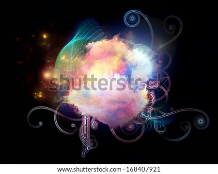 Composition of  decorative shapes and fractal elements to serve as a supporting backdrop for projects on design, imagination and creativity - stock photo