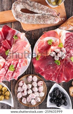 composition of delicatessen - stock photo