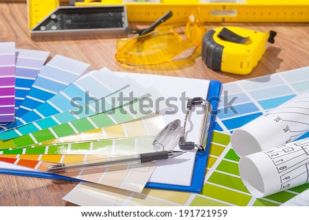 composition of designer tools on table