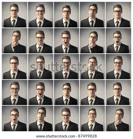 Composition of different expression of the same businessman