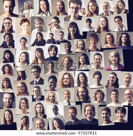 Composition of different people smiling - stock photo