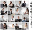 Composition of different people using a laptop - stock photo
