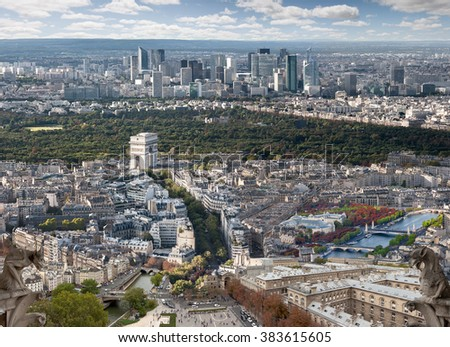 Composition of different places in Paris seen from the Eiffel Tower