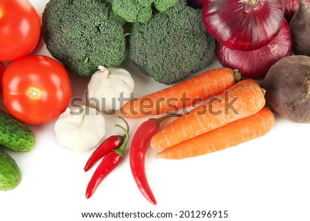 Composition of different vegetables close up - stock photo