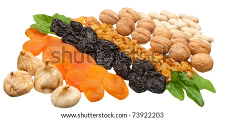 composition of dried fruits and nuts isolated on the white background - stock photo