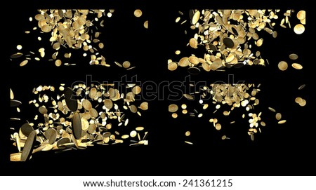 Composition of Falling Gold Coins Isolated on black background  - stock photo