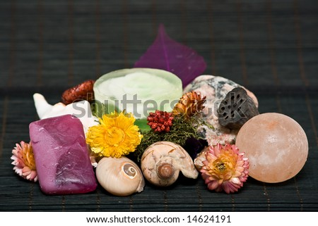 composition of flowers, sea shells, soaps and rock - stock photo
