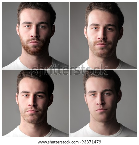 Composition of four portraits of the same man with and without beard - stock photo