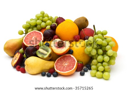 Composition of fresh fruit on a white background. - stock photo