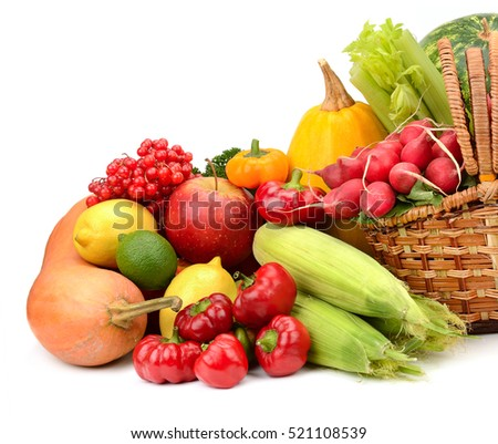 composition of fruits and vegetables in basket isolated on white
