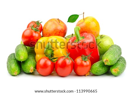 Composition of fruits and vegetables isolated on white background - stock photo