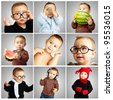 composition of funny baby over grey background - stock photo