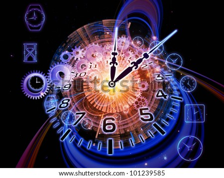 Composition of gears, clock elements and abstract design elements as a concept metaphor on subject of scheduling, temporal and time related processes, deadlines, progress, past, present and future - stock photo