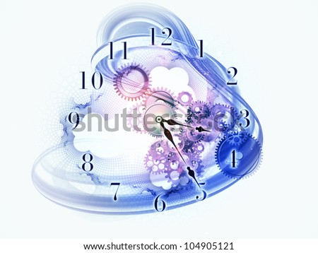 Composition of gears, clock elements and dynamic swirly lines suitable as a backdrop for the projects on scheduling, temporal and time related processes, deadlines, progress, past, present and future - stock photo