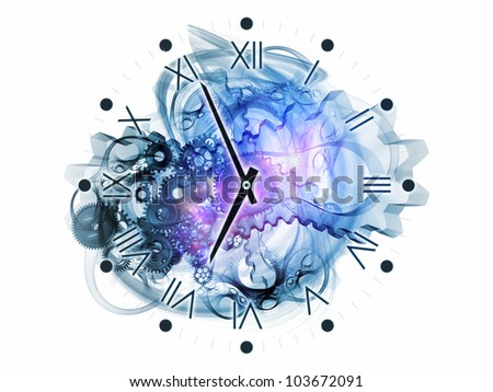 Composition of gears, clock elements, dials and dynamic swirly lines as a concept metaphor on subject of scheduling, temporal and time related processes, deadlines, progress, past, present and future - stock photo