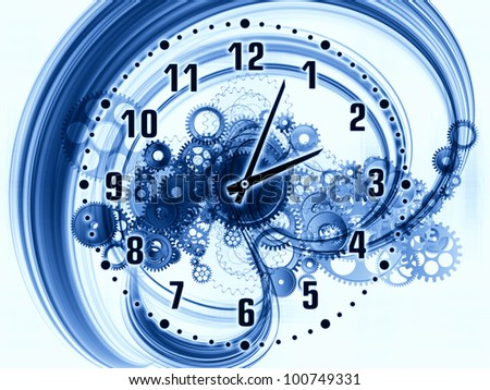 Composition of gears, clock elements, dials and dynamic swirly lines with metaphorical relationship to scheduling, temporal and time related processes, deadlines, progress, past, present and future - stock photo