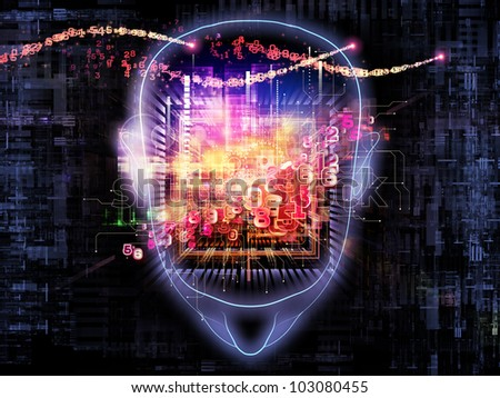 Composition of head outlines, lights and abstract design elements suitable as a backdrop for the projects on intelligence,  consciousness, logical thinking, mental processes and brain power