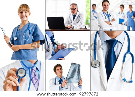 Composition of healthcare and medical images - stock photo