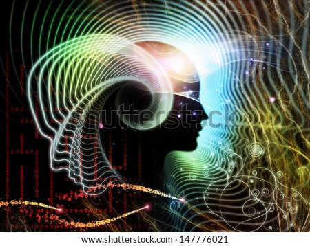 Composition of human feature lines and symbolic elements suitable as a backdrop for the projects on human mind, consciousness, imagination, science and creativity - stock photo